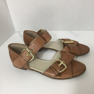 Aldo tan sandals with gold buckle size 7.5